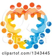 Clipart Of A Shield Of Colorful Diverse People 2 Royalty Free Vector Illustration