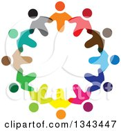 Clipart Of A Circle Of Colorful Diverse People 3 Royalty Free Vector Illustration