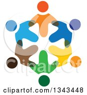 Clipart Of A Circle Of Colorful Diverse People 4 Royalty Free Vector Illustration