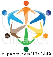 Clipart Of A Shield Of Colorful Diverse People Royalty Free Vector Illustration