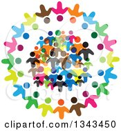 Clipart Of A Circle Of Colorful Diverse People 5 Royalty Free Vector Illustration