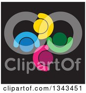Clipart Of A Teamwork Unity Circle Of Colorful People Cheering Or Dancing Over Black Royalty Free Vector Illustration