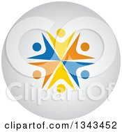 Clipart Of A Teamwork Unity Group Of Colorful People Cheering Or Dancing On A Shaded Circle App Icon Button Design Element 2 Royalty Free Vector Illustration