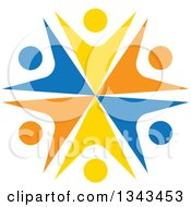 Clipart Of A Teamwork Unity Circle Of Colorful People Cheering Or Dancing 59 Royalty Free Vector Illustration