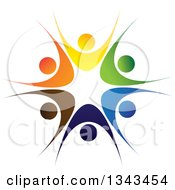 Clipart Of A Teamwork Unity Circle Of Colorful People Cheering Or Dancing 23 Royalty Free Vector Illustration