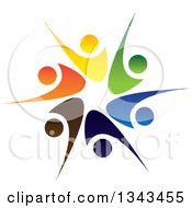 Clipart Of A Teamwork Unity Circle Of Colorful People Cheering Or Dancing 24 Royalty Free Vector Illustration