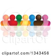 Clipart Of A Teamwork Unity Group Of Colorful People And A Reflection 2 Royalty Free Vector Illustration