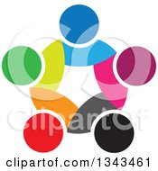 Clipart Of A Teamwork Unity Circle Of Colorful People 44 Royalty Free Vector Illustration