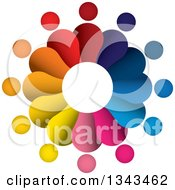 Clipart Of A Teamwork Unity Circle Of Colorful People 45 Royalty Free Vector Illustration