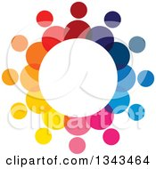 Clipart Of A Teamwork Unity Circle Of Colorful People 47 Royalty Free Vector Illustration