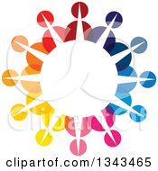 Clipart Of A Teamwork Unity Circle Of Colorful People 48 Royalty Free Vector Illustration