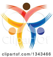 Clipart Of A Teamwork Unity Circle Of Colorful People Cheering Or Dancing 35 Royalty Free Vector Illustration