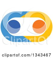 Clipart Of A Blue And Orange Couple Holding Hands And Forming An Oval Royalty Free Vector Illustration