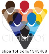 Clipart Of A Teamwork Unity Group Of Colorful People 4 Royalty Free Vector Illustration