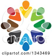 Clipart Of A Teamwork Unity Circle Of Colorful People 51 Royalty Free Vector Illustration