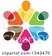 Clipart Of A Teamwork Unity Circle Of Colorful People 52 Royalty Free Vector Illustration