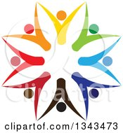 Clipart Of A Teamwork Unity Circle Of Colorful People Cheering Or Dancing 26 Royalty Free Vector Illustration
