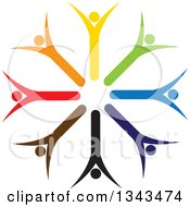 Clipart Of A Teamwork Unity Circle Of Colorful People Cheering Or Dancing 27 Royalty Free Vector Illustration