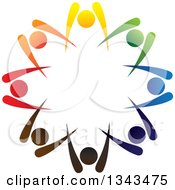 Clipart Of A Teamwork Unity Circle Of Colorful People Cheering Or Dancing 28 Royalty Free Vector Illustration