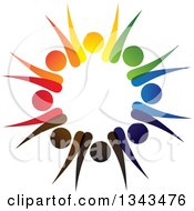 Clipart Of A Teamwork Unity Circle Of Colorful People Cheering Or Dancing 29 Royalty Free Vector Illustration
