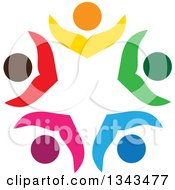 Clipart Of A Teamwork Unity Circle Of Colorful People Cheering Or Dancing 30 Royalty Free Vector Illustration