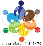 Clipart Of A Teamwork Unity Circle Of Colorful Hand People Royalty Free Vector Illustration