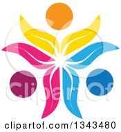 Clipart Of A Teamwork Unity Circle Of Colorful Petal People Cheering Or Dancing Royalty Free Vector Illustration