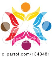 Clipart Of A Teamwork Unity Circle Of Colorful Petal People Cheering Or Dancing 2 Royalty Free Vector Illustration
