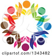 Clipart Of A Teamwork Unity Circle Of Colorful Petal People Cheering Or Dancing 3 Royalty Free Vector Illustration