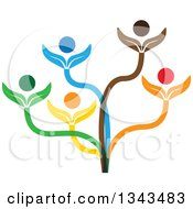 Clipart Of A Teamwork Unity Group Of Colorful People On A Plant Royalty Free Vector Illustration by ColorMagic