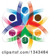 Clipart Of A Teamwork Unity Circle Of Colorful People Cheering Or Dancing 33 Royalty Free Vector Illustration