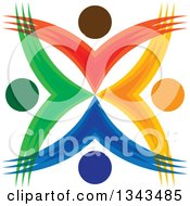 Clipart Of A Teamwork Unity Circle Of Colorful People Cheering Or Dancing 34 Royalty Free Vector Illustration