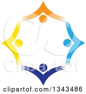 Clipart Of A Teamwork Unity Circle Of Colorful People Cheering Or Dancing 53 Royalty Free Vector Illustration