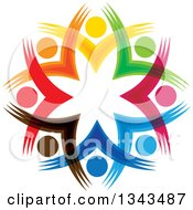Clipart Of A Teamwork Unity Circle Of Colorful People Cheering Or Dancing 36 Royalty Free Vector Illustration