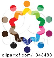 Clipart Of A Teamwork Unity Circle Of Colorful People 54 Royalty Free Vector Illustration