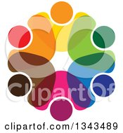 Clipart Of A Teamwork Unity Circle Of Colorful People Cheering Or Dancing 37 Royalty Free Vector Illustration