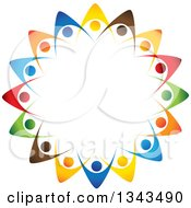 Clipart Of A Teamwork Unity Circle Of Colorful People Cheering Or Dancing 39 Royalty Free Vector Illustration