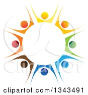 Clipart Of A Teamwork Unity Circle Of Colorful People Cheering Or Dancing 40 Royalty Free Vector Illustration