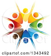 Clipart Of A Teamwork Unity Circle Of Colorful People Cheering Or Dancing 41 Royalty Free Vector Illustration