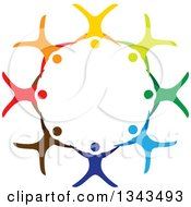 Clipart Of A Teamwork Unity Circle Of Colorful People Cheering Dancing Or Free Falling And Holding Hands While Sky Diving Royalty Free Vector Illustration