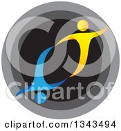 Clipart Of A Teamwork Unity Blue And Yellow People Cheering Or Dancing Over A Circle Royalty Free Vector Illustration
