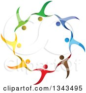 Clipart Of A Teamwork Unity Circle Of Colorful People Cheering Or Dancing 43 Royalty Free Vector Illustration