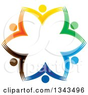Clipart Of A Teamwork Unity Circle Of Colorful People Cheering Or Dancing 57 Royalty Free Vector Illustration
