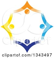 Clipart Of A Teamwork Unity Circle Of Colorful People Cheering Or Dancing 55 Royalty Free Vector Illustration