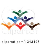 Clipart Of A Teamwork Unity Group Of Colorful People Cheering 7 Royalty Free Vector Illustration