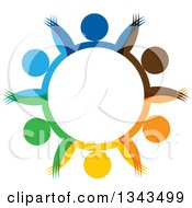 Clipart Of A Teamwork Unity Circle Of Colorful People Cheering Or Dancing 56 Royalty Free Vector Illustration