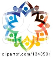Clipart Of A Teamwork Unity Circle Of Colorful People Cheering Or Dancing 46 Royalty Free Vector Illustration