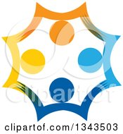 Clipart Of A Teamwork Unity Circle Of Colorful People Cheering Or Dancing 48 Royalty Free Vector Illustration