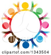 Clipart Of A Teamwork Unity Circle Of Colorful People Cheering Or Dancing 49 Royalty Free Vector Illustration