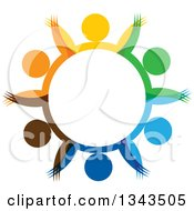 Clipart Of A Teamwork Unity Circle Of Colorful People Cheering Or Dancing 50 Royalty Free Vector Illustration